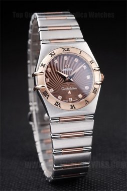 Omega-Constellation Professional Ladies' 18k rose gold Replica Watches Om4476
