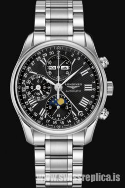 Longines Master Collection Stainless Steel Black Dial L2.673.4.51.6 Chronograph