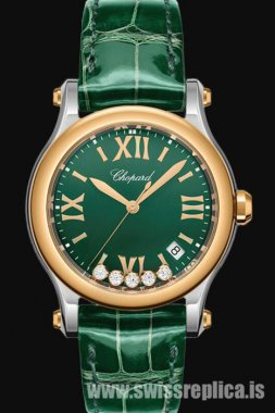 Chopard Happy Sport Round Quartz Green Dial 278582-6005