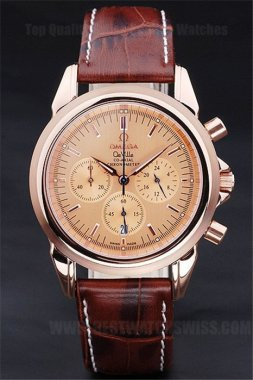 Omega Deville High Quality Men's 18k rose gold Replica Watches Om4400