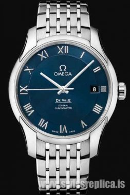 Omega De Ville Blue Dial Stainless Steel 431.10.41.21.03.001 Co-Axial Chronometer