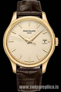 Patek Philippe Calatrava Automatic Date Yellow Gold Brown Leather 5227J-001