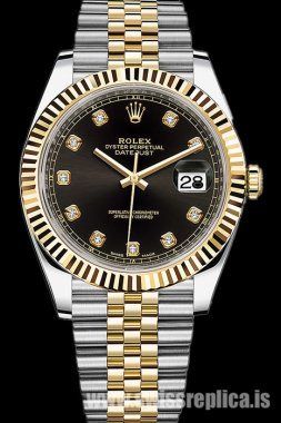 Rolex Datejust Steel And Yellow Gold Black Diamond Dial Jubilee M126333-0006