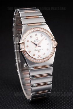 Omega-Constellation Perfect Ladies' Stainless Steel Replica Watches Om4472