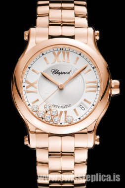 Chopard Happy Sport Automatic Guilloche Silver Dial Rose Gold 274808-5002