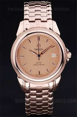 Omega Deville Good Men's 18k rose gold Replica Watches Om4388