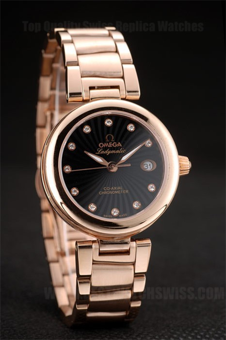 Omega Deville Hot Ladies' 18k rose gold Replica Watches Om4373