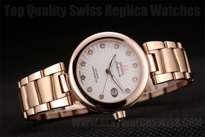 Omega Deville AAA+ Ladies' 18k rose gold Replica Watches Om4374